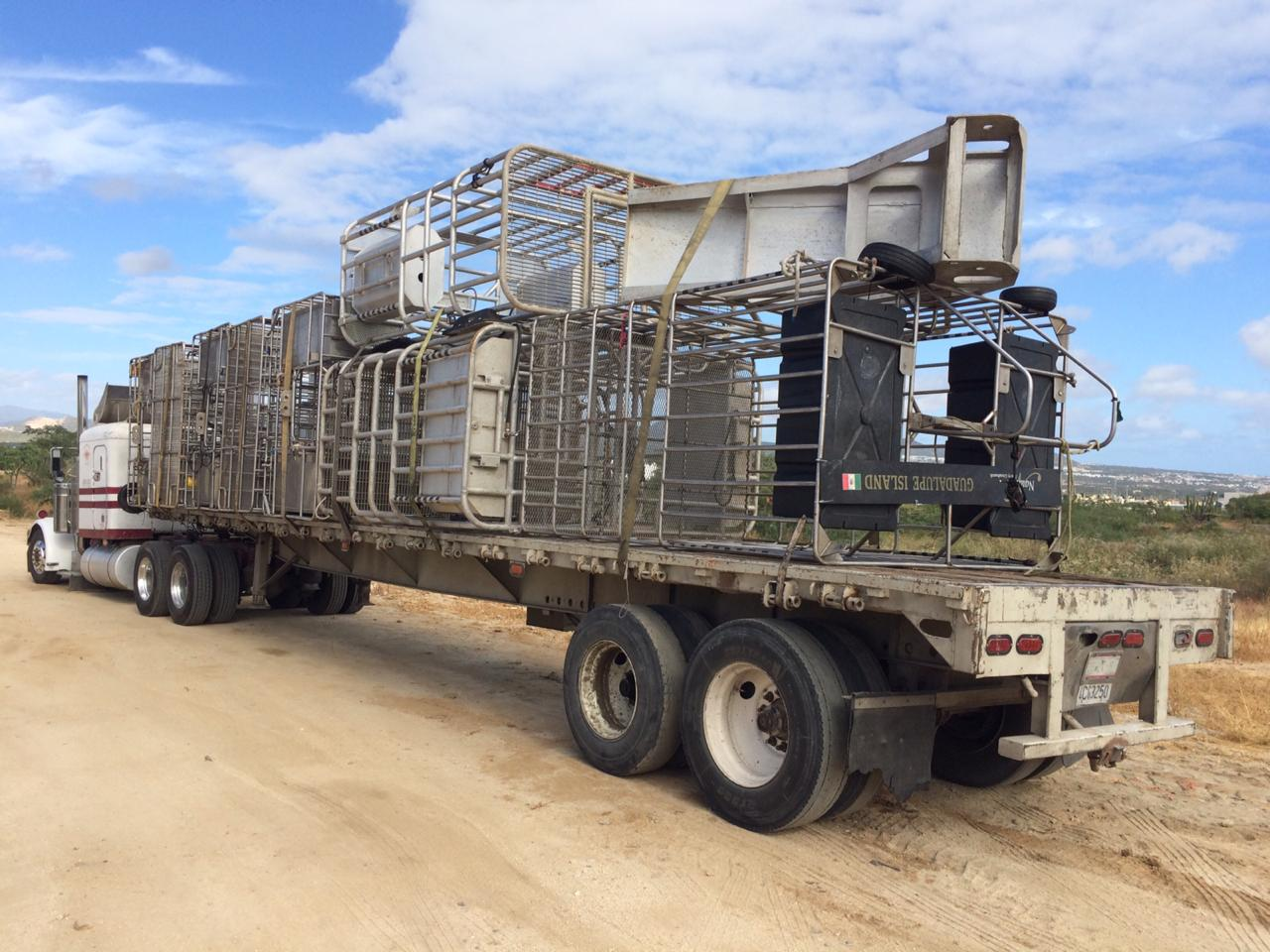 """A """"clutch"""" of shark cages head back to our warehouse."""